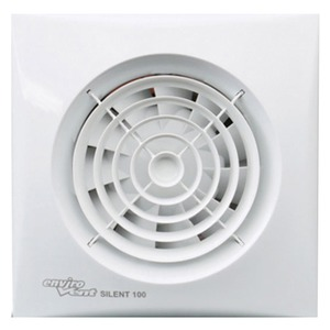 Envirovent Silent 100 Whisper Quiet WC & Bathroom Fan with Humidity Sensor 158 x 158 x 109.3mm White