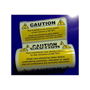 Mixed Cable Caution Notice Self Adhesive Vinyl Roll 100 Pack 130x60mm