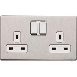 MK Electric Aspect Socket 2-Gang 13A Dual-Earth 2-Pole Brushed Stainless Steel