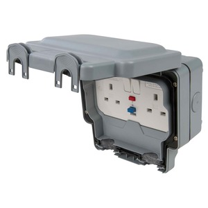 MK Electric Masterseal Plus 2-Gang Active Control Circuit RCD Protected Socket 1-Pole 13A Grey