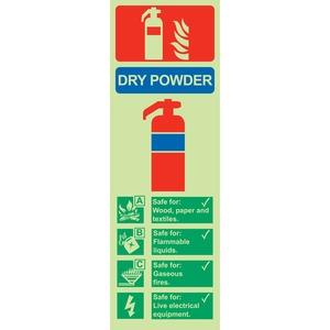 "Photo Luminescent Sign ""Dry Powder Fire Extinguisher"" 300x100mm"