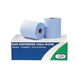 2 Ply Centrefeed Pull Wipe 6 x 150m Roll Blue