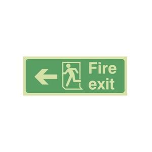 "Photo Luminescent Sign ""Fire Exit"" Left Arrow 400x150mm Green"