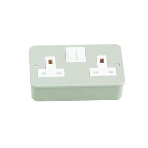Newlec Metalclad Switched Socket Outlet 2 Gang Grey