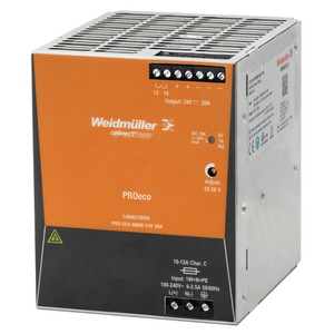 Weidmüller PROeco 480W 20A Single-Phase Power Supply Unit 24V 100 x 125 x 100mm