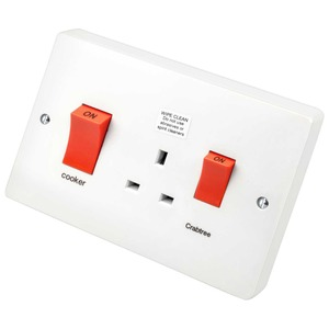 Crabtree Capital Cooker Control Unit with 2-Pole 45A Switch