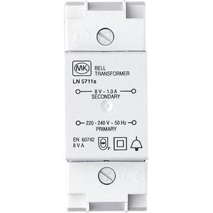 MK Electric Bell Transformer 2-Module 220-240V 1A 88 x 36 x 67mm White