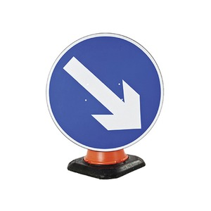 """Cone Mounted Road Sign """"Arrow Right"""" 750mm Blue/White"""