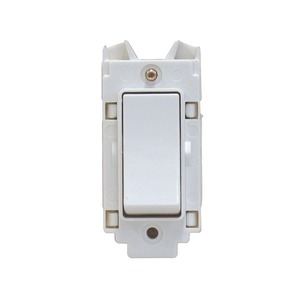 Crabtree Rockergrid 1-Pole 2-Way 10A Retractive Grid Switch White