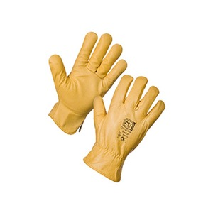 Supertouch Large Leather Fleece Lined Driving Gloves Yellow Size 10