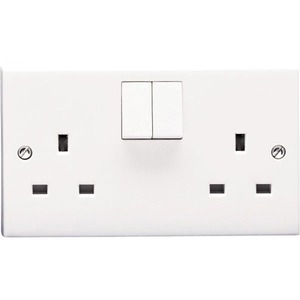 Volex Switched Socket 2-Gang 1-Pole 13A White