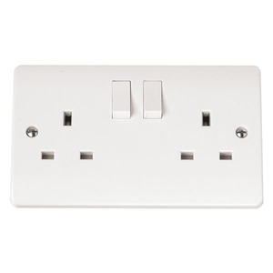 Scolmore CLICK MODE Switched Socket 2-Gang 2-Pole 13A
