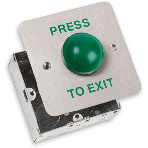 Newlec Flush Stainless Green Dome Exit Button 85 x 85 x 30mm