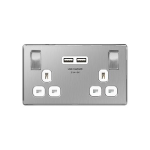 BG Nexus Metal Switched Socket with 2 USB Ports 2-Gang 2-Pole 13A Brushed Steel/White