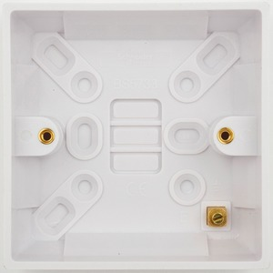 Schneider Exclusive Square Edge Moulded Pattress Box 1-Gang 87 x 87 x 25mm White