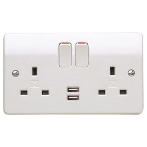 MK Electric Logic Plus Socket Outlets and USB Charging Outlets 13A/2A White