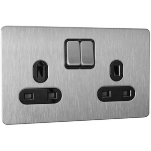 Schneider Ultimate Switched Socket 2-Gang 1-Pole 13A Stainless Steel Black Insert