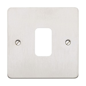MK Electric Grid Plus Modular Frontplate Flush One Modules Brushed Stainless Steel