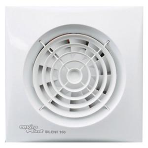 Envirovent Silent 100 Whisper Quiet WC & Bathroom Fan 158 x 158 x 109.3mm with Pilot Light White